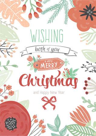 Buon Natale Vintage e felice anno nuovo auguri con i fiori invernali e vacanze Wish. Saluto illustrazione moda dell'inverno bordo romantico di fiori, foglie e alloro. Buon per biglietti o poster Vettoriali