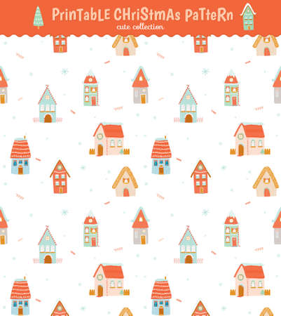 bilding: Christmas holidays seamless pattern with winter character houses. Vector illustration. Stylish New Year and Christmas background Illustration