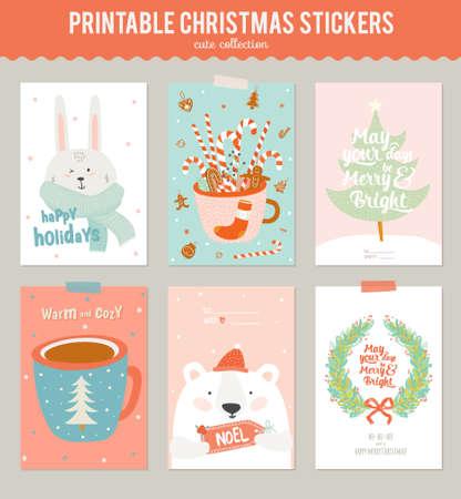 Colección de 6 de regalo de Navidad etiquetas y tarjetas plantillas. Navidad carteles hermosa alegre establecen. invitaciones invierno preciosas con la ilustración de estilo de dibujos animados y el carácter.
