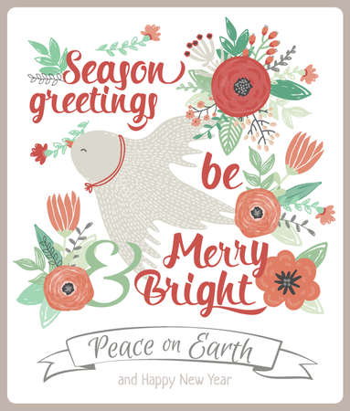 Vintage Merry Christmas And Happy New Year Card With Flowers ...
