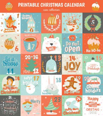 Druku kalendarz adwentowy w wektorze. Cute Christmas kalendarz z wieloma symbolami zwierząt podróżniczych, jodły, bałwan, anioł, prezenty, zabawki, śnieg, słodyczy i innych. Piękne karty zima w stylu kreskówki