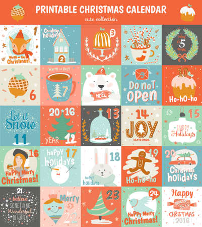 Printable advent calendar in vector. Cute Christmas calendar with a lot of holiday symbols animals, fir tree, snowman, angel, gifts, toys, snow, sweets and others. Lovely winter card in cartoon style