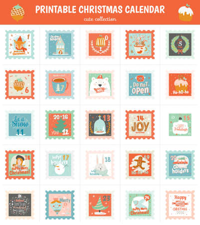 advent calendar: Printable advent calendar in vector. Christmas beautiful cheerful cute stamp with animals, fir tree, snowman, angel, gifts, toys, snow, sweets and others. Lovely winter cartoon cards for decoration