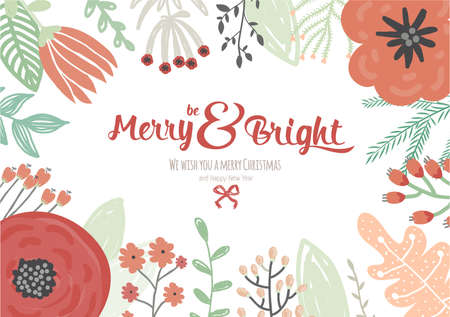 Vintage Merry Christmas And Happy New Year Card With Winter Fowers ...