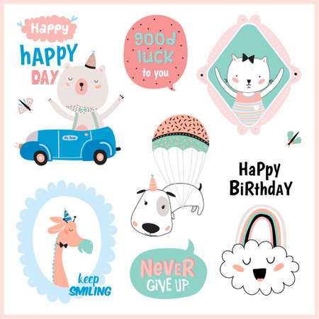Set of birthday cards, gift tags, label templates and stickers with funny and cute animals. Vector. Isolated. White Background