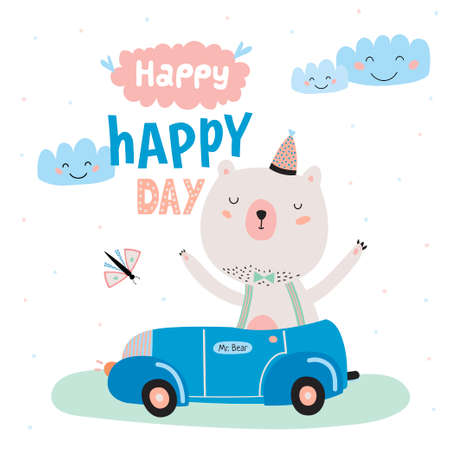smiley face car: Animal Birthday greeting card design. Cute girl cat congratulates Happy Birthday. White background.