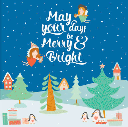 meet and greet: Stylish and bright Merry Christmas and New Year card in vector. Cute and funny penguins wait Santa Claus and gifts at night in the snow. Winter holiday background. Christmas coming in town