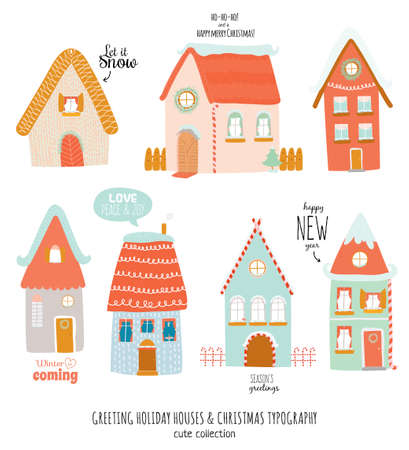 new year celebration: New Year and Christmas holidays elements. Stylized winter character houses. Christmas typography and wishes. Vector illustration. Isolated. White background. Good for winter design, cards or posters.