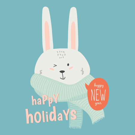 greetings from: Merry Christmas and Happy New 2017 Year Card with Happy Smiling Xmas White Bunny with Greeting Bubble wish on Blue Background. Greeting holidays lovely card.