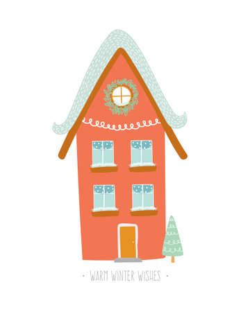 bilding: Christmas card with winter character house. Vector holiday illustration. Stylish New Year and Christmas element. Isolated. White background Illustration