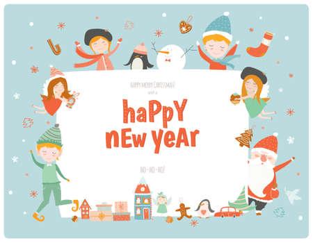 Leuke Kerstkaart met Santa Claus, engelen, elf, vrienden en veel vakantie symbolen. Mooie winter uitnodigingen in cartoon en tekenstijl met plaats voor tekst. Stock Illustratie