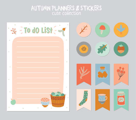 note paper background: Cute Daily Calendar and To Do List Template. Note Paper and Stickers Set with Vector Autumn Illustrations. Good for Kids. Fun Background. Organizer and Schedule with place for Notes.
