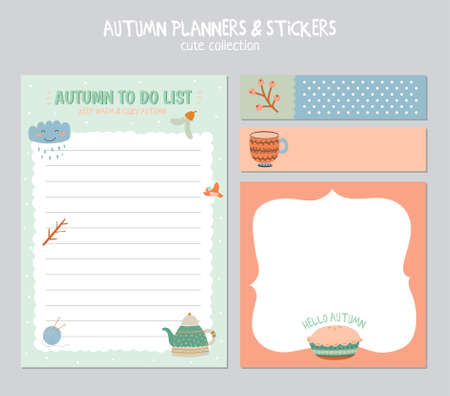 weekly planner: Cute Daily Calendar and To Do List Template. Note Paper and Stickers Set with Vector Autumn Illustrations. Good for Kids. Fun Background. Organizer and Schedule with place for Notes.