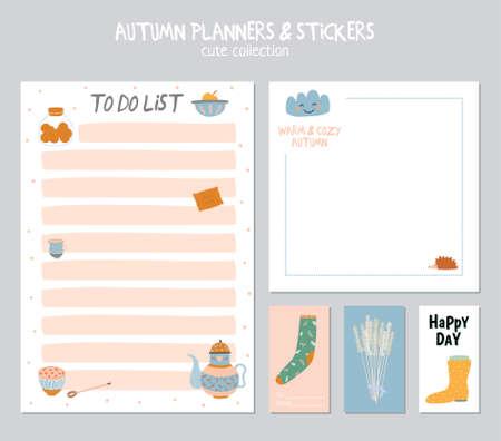 hacer: Calendario diario lindo y para hacer la plantilla de la lista. Nota de papel y pegatinas Conjunto de otoño del vector ilustraciones. Bueno para niños. Antecedentes de la diversión. Organizador y horario con el lugar de Notas. Vectores