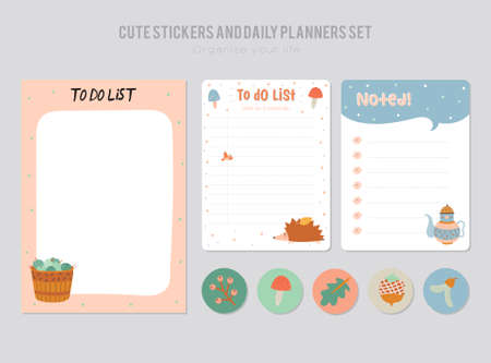 Cute Daily Calendar And To Do List Template. Note Paper And Stickers ...