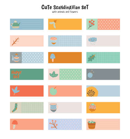 kids fun: Cute Stickers for Calendar or Planners. Note Paper and Stickers Set with Vector Autumn Illustrations. Good for Kids. Fun Background. Organizer and Schedule with place for Notes. Illustration