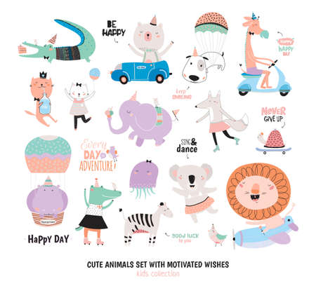 Cute Funny Animals and Motivated Wishes Set. Isolated. White background. Vector. Good for posters, stickers, cards, scrapbook, alphabet and baby showers. Kids collection Stock Vector - 63026388