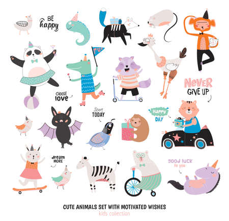 귀여운 재미 동물과 동기를 소원 설정합니다. 외딴. 흰색 배경입니다. 벡터. 포스터, 스티커, 카드, 스크랩북, 알파벳 아기 샤워에 적합합니다. 키즈 컬 일러스트