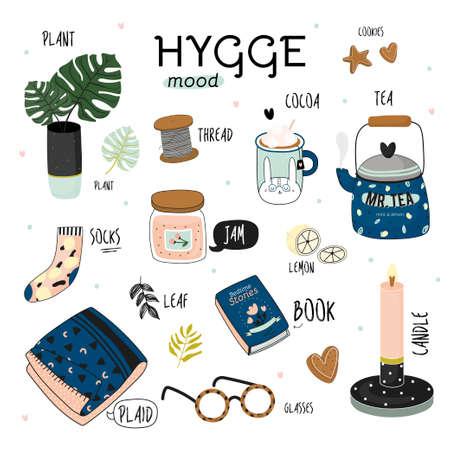 Nette Vektorillustration von Herbst- und Winterhyggeelementen. Auf weißem Hintergrund isoliert. Motivierende Typografie von Hygge-Zitaten. Skandinavischer Stil