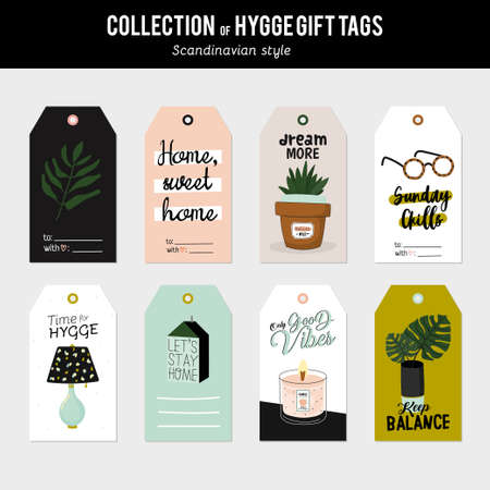 Super cute vector set of hygge cards, tags and labels. Cute holiday illustration autumn and winter hygge elements. Isolated. Motivational typography of hygge quotes. Scandinavian style stationery Ilustrace