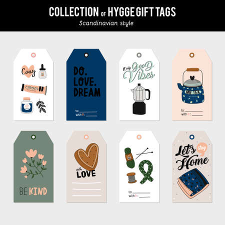 Super cute vector set of hygge cards, tags and labels. Cute holiday illustration autumn and winter hygge elements. Isolated. Motivational typography of hygge quotes. Scandinavian style stationery 일러스트