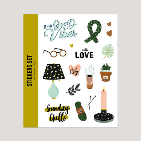 Super cute vector set of hygge elements. Hygge autumn and winter illustration. Isolated. Motivational typography of hygge quotes. Scandinavian style. 일러스트
