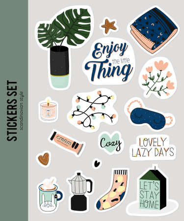 Super cute vector set of hygge stickers. Cute illustration autumn and winter hygge elements. Isolated. Motivational typography of hygge quotes. Scandinavian style stationery.