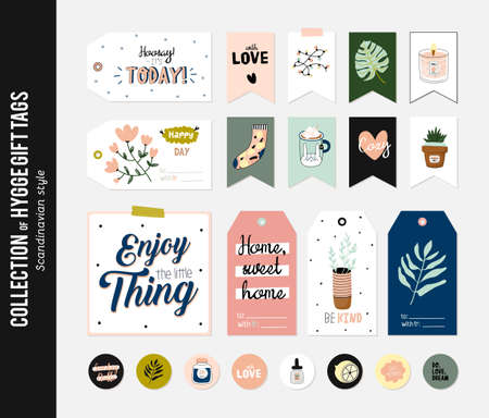 Super cute vector set of hygge cards, tags and labels. Cute illustration autumn and winter hygge elements. Isolated. Motivational typography of hygge quotes. Scandinavian style