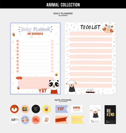 Scandinavian animal illustrations and trendy lettering. Template for agenda, planners, check lists, and other stationery. Isolated. Vector. Çizim
