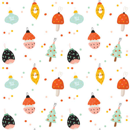 Christmas and Happy New Year cheerful seamless pattern. Lovely winter illustration with cute and character traditional elements in scandinavian style. Vector. Good fabric design and wrapping paper Çizim