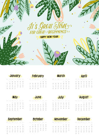 Cute 2019 Calendar. Yearly Planner Calendar with all Months. Good Organizer and Schedule. Bright colorful illustration with motivational quotes. Vector background Banco de Imagens - 114442682