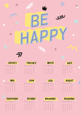 Cute 2019 Calendar. Yearly Planner Calendar with all Months. Good Organizer and Schedule. Bright colorful illustration with motivational quotes. Vector background