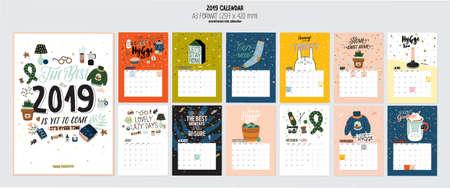 Netter 2019 Kalender. Jahresplaner Kalender mit allen Monaten. Guter Organisator und Zeitplan. Helle bunte Illustration mit motivierenden Zitaten. Vektorhintergrund