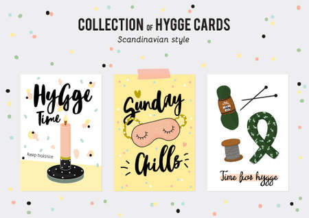 Super cute vector set of hygge cards and posters. Cute illustration autumn and winter hygge elements. Isolated. Motivational typography of hygge quotes. Scandinavian style
