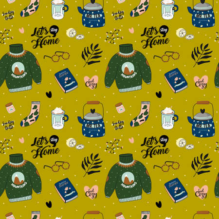 Hygge seamless pattern in vector. Cute illustration of autumn and winter hygge elements on white background. Scandinavian trendy style Ilustração