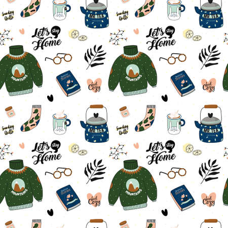 Hygge seamless pattern in vector. Cute illustration of autumn and winter hygge elements on white background. Scandinavian trendy style