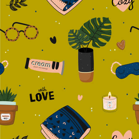 Hygge seamless pattern in vector. Cute illustration of autumn and winter hygge elements on gold background. Scandinavian trendy style Illusztráció