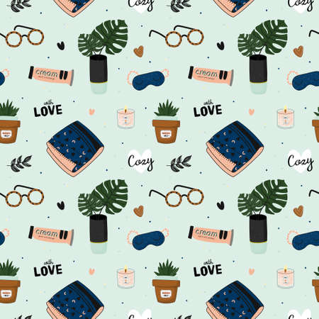 Hygge seamless pattern. Cute illustration of autumn and winter hygge elements on vector background. Scandinavian trendy style