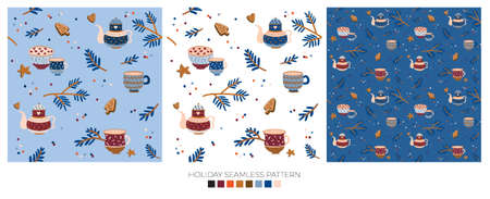 Holiday cheerful seamless pattern. Lovely winter illustration with cute and character traditional nordic elements in scandinavian style. Vector. Good fabric design and wrapping paper Ilustração