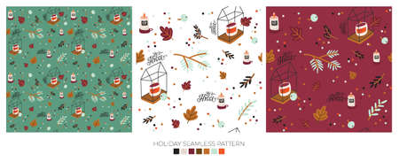 Holiday cheerful seamless pattern. Lovely winter illustration with cute and character traditional nordic elements in scandinavian style. Vector. Good fabric design and wrapping paper Ilustracja