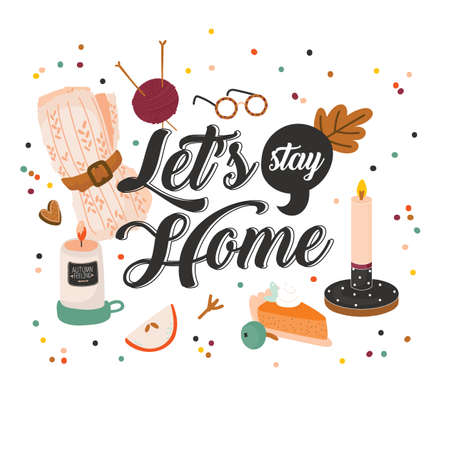 Cute vector illustration with autumn and winter hygge elements. Isolated on white background. Motivational typography of hygge quotes. Scandinavian style