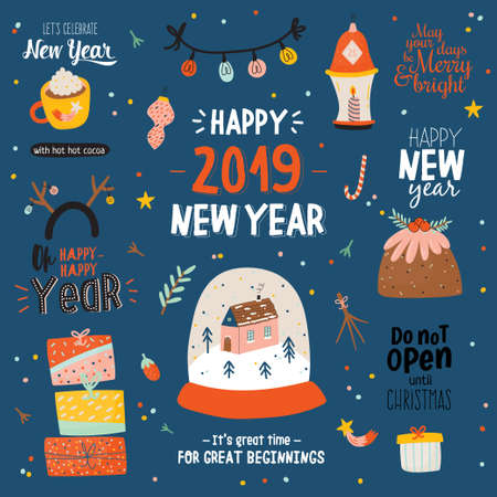 Merry Christmas And Happy New 2019 Year templates with holiday lettering and traditional christmas elements. Cute illustration in scandinavian style. Vector backround.