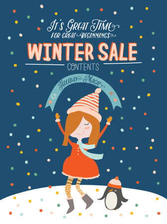 Winter Sale posters and banners. Cute Christmas illustration in vector. Scandinavian New Year elements and holiday typography good for winter sale stickers, labels, tags, cards, posters.