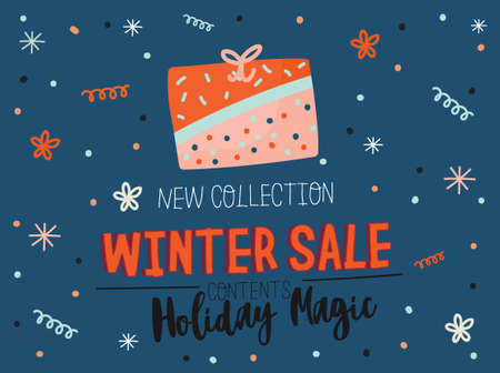 Winter Sale posters and banners. Cute Christmas illustration in vector. Scandinavian New Year elements and holiday typography good for winter sale stickers, labels, tags, cards, posters. Archivio Fotografico - 112610650