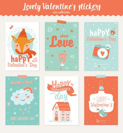 Raccolta di 6 etichette regalo di San Valentino e modelli di carte per l'inserimento nel diario. Set di poster romantici e di bellezza. Inviti adorabili con illustrazioni in stile cartone animato e personaggio con tipografia romantica