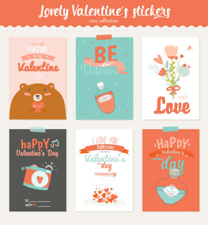 Collection of 6 Valentines day gift tags and journaling cards templates. Romantic and beauty posters set. Lovely invitations with cartoon and character style illustrations with romantic typography