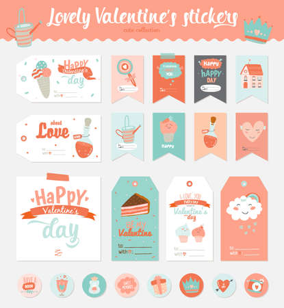 Collection of Valentines day gift tags, stickers and labels templates. Romantic and beauty posters set. Lovely card for Valentines day, wedding, marriage, save the date, bridal. Vector illustration