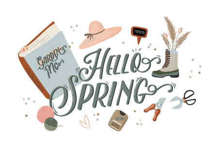 Cute Hello Spring set with hand drawn garden elements, tools and romantic lettering. Good template for web, card, poster, sticker, banner, invitation, wedding. Vector illustration Stock Illustratie