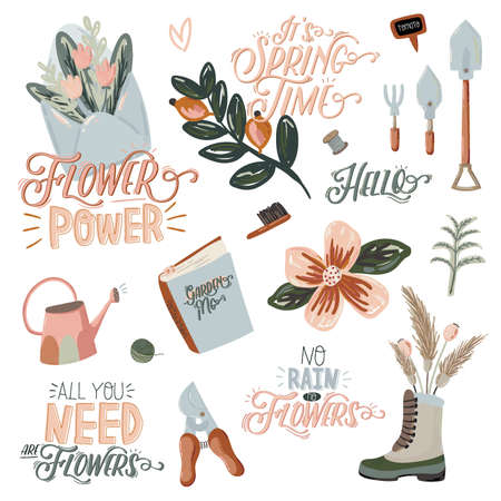 Cute Hello Spring set with hand drawn garden elements, tools and romantic lettering. Good template for web, card, poster, sticker, banner, invitation, wedding. Vector illustration