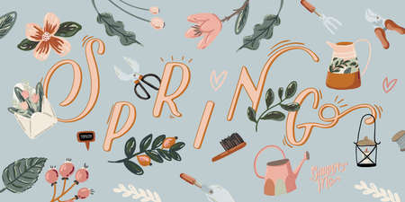 Cute Hello Spring set with hand drawn garden elements, tools and romantic lettering. Good template for web, card, poster, sticker, banner, invitation, wedding. Vector illustration Illustration